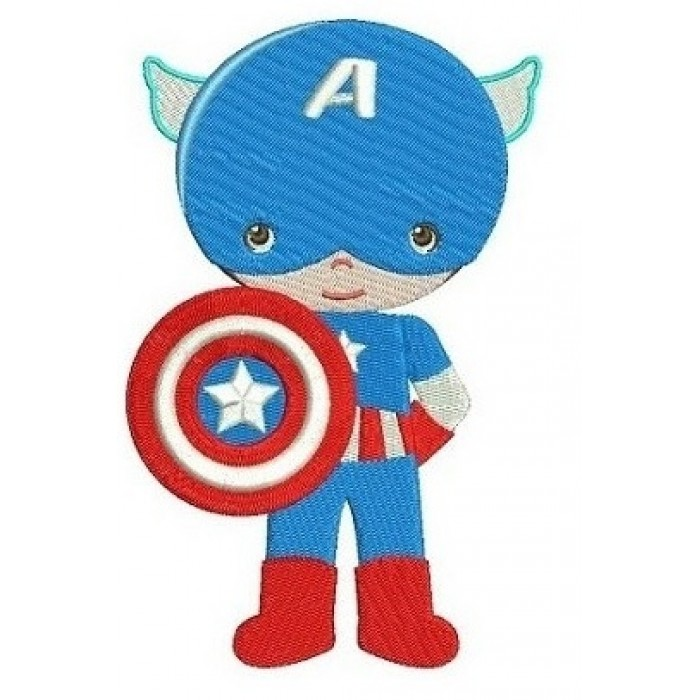 Instant Download Cute Captain America Little Brother (hands in) Superhero Machine Embroidery Design