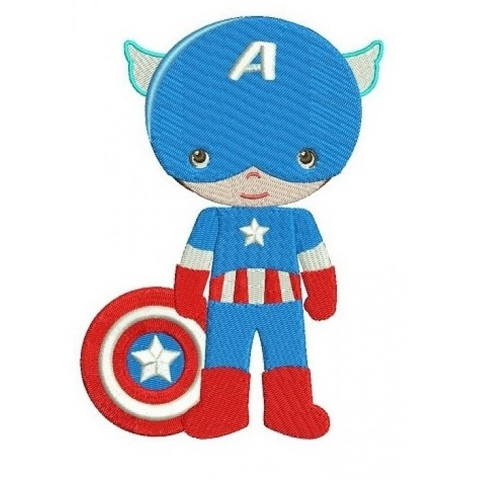 Instant Download Cute Captain America Little Brother (shield down) Superhero Machine Embroidery Design
