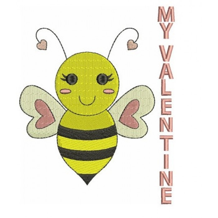 My Valentine Bumble Bee Machine Embroidery Design Instant Download comes in three sizes to fit 4x4 , 5x7, and 6x10 hoops