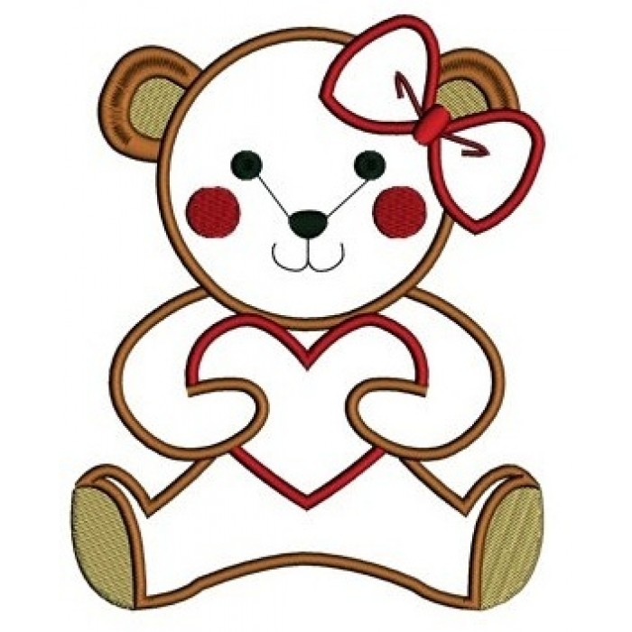 2fe71f369ef Instant Download Applique Teddy Bear with Hearts Machine Embroidery Design  comes in three sizes to fit ...