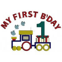 Instant Download Birthday Choo Choo 1st Birthday Train Machine Embroidery Applique comes in three sizes to fit 4x4 , 5x7, and 6x10 hoops