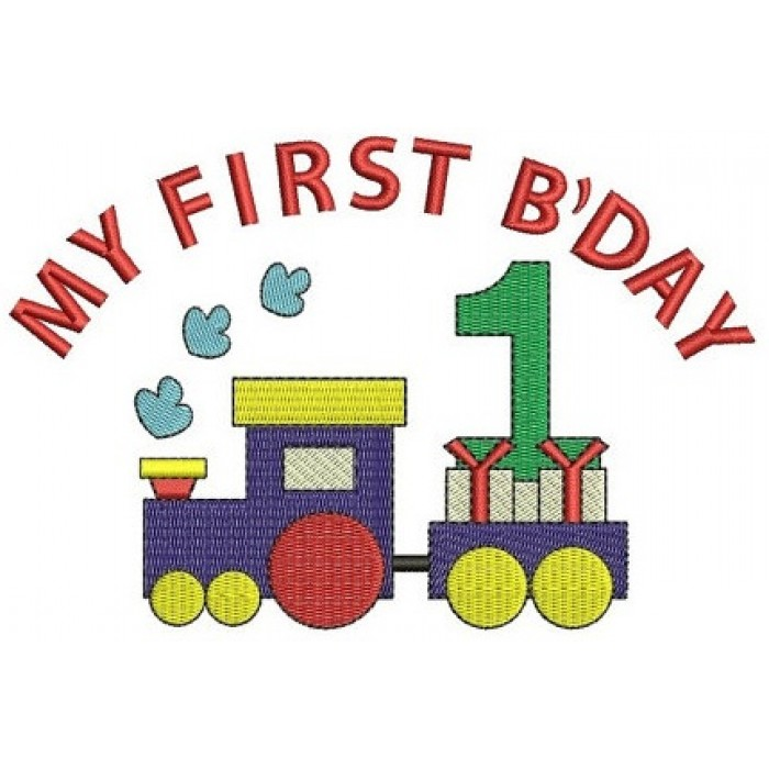 Instant Download Birthday Choo Choo 1st Birthday Train Machine Embroidery Design comes in three sizes to fit 4x4 , 5x7, and 6x10 hoops