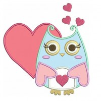 Instant Download Cute Owl with Hearts Machine Embroidery Applique comes in three sizes to fit 4x4 , 5x7, and 6x10 hoops