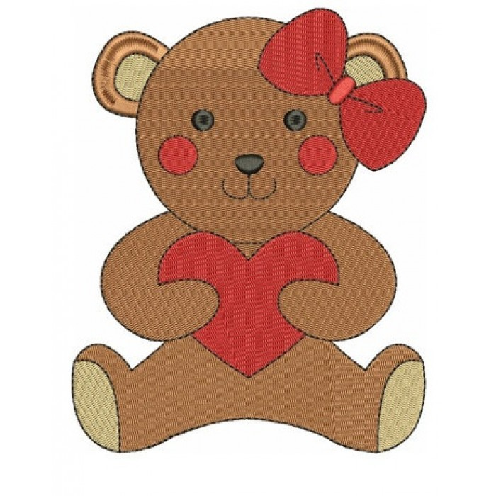 Instant Download Teddy Bear with Hearts Machine Embroidery Design comes in three sizes to fit 4x4 , 5x7, and 6x10 hoops