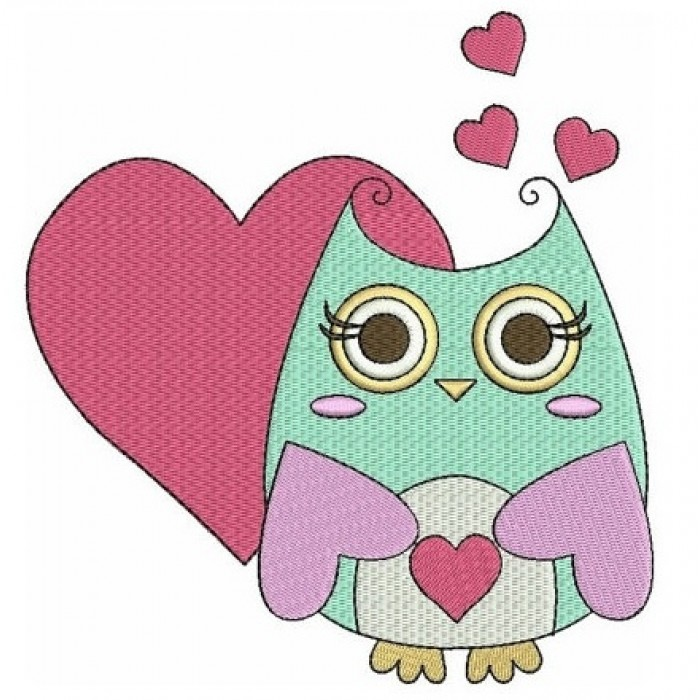 Instant Download Cute Owl with Hearts Machine Embroidery Design comes in three sizes to fit 4x4 , 5x7, and 6x10 hoops