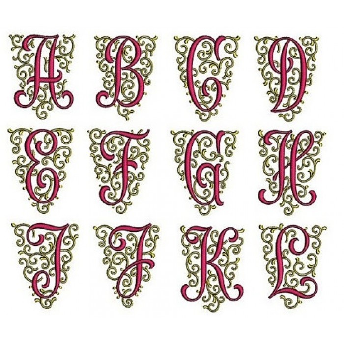 Fancy Font Monogram A Z Machine Embroidery Design Instant Download