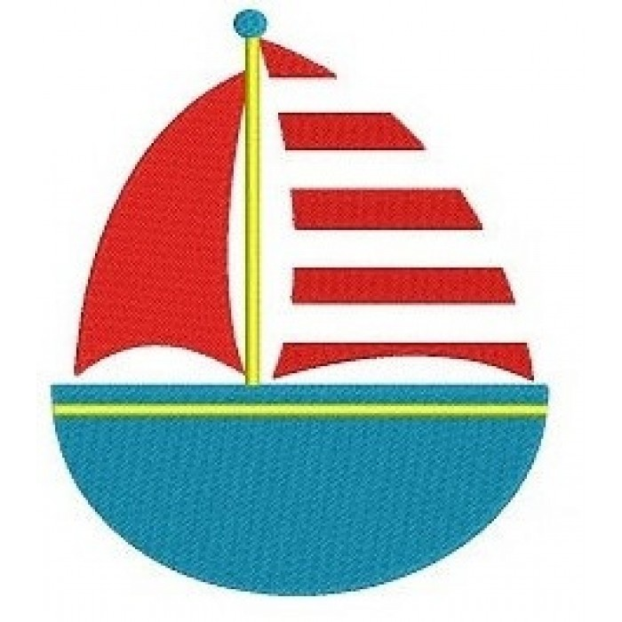 Instant Download Little Boat Machine Embroidery Filled Digitized Design Pattern - 4x4 , 5x7, and 6x10 hoops