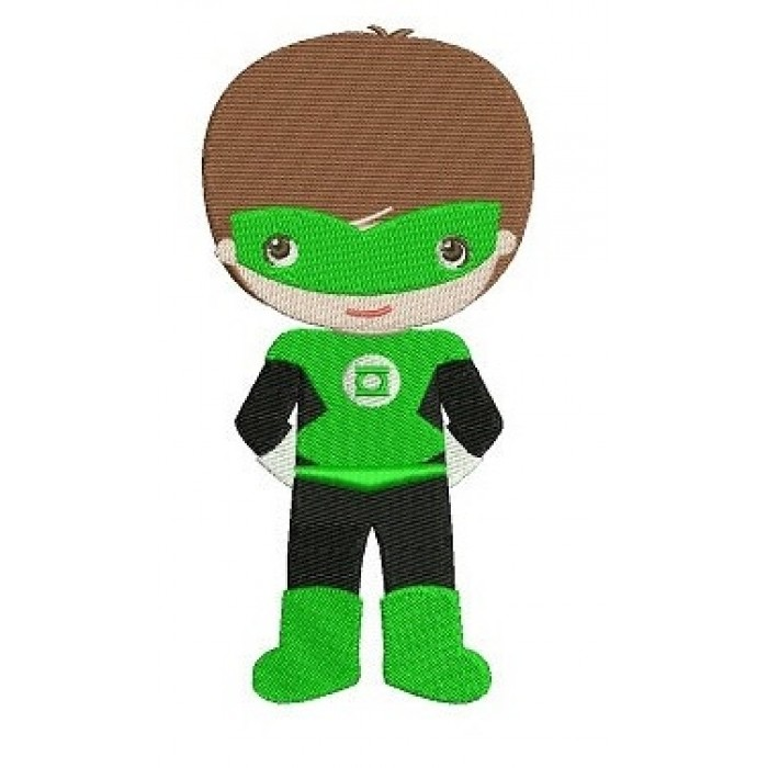 Instant Download Cute Boy Green Lantern's Little Brother (hands in) Machine Embroidery Design