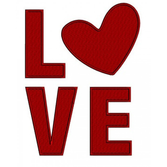 Love with heart - Instant Download Machine Embroidery Design - comes in three sizes to fit 4x4 , 5x7, and 6x10 hoops