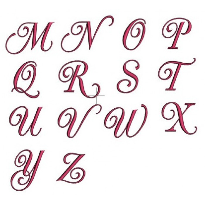 Fancy Curly Machine Embroidery Monogram Font Script 123 Inches