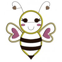 Bumble Bee Applique Machine Embroidery Design Instant Download comes in three sizes to fit 4x4 , 5x7, and 6x10 hoops