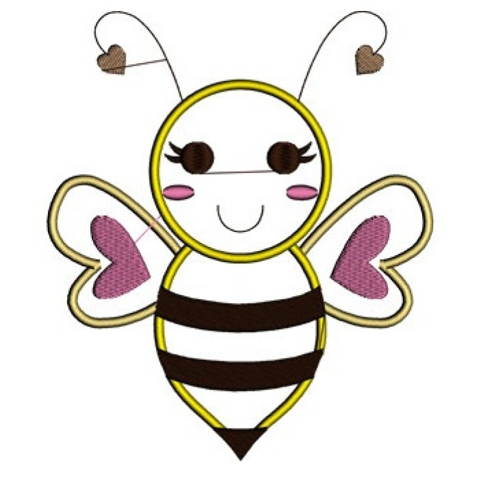 Bee Applique Machine Embroidery Design Instant Download Comes In