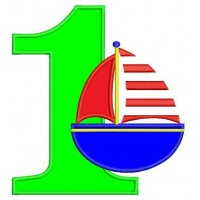 Birthday Number One (1) Little Boat Machine Embroidery Applique Design Digitized Pattern - Instant Download - 4x4 , 5x7, and 6x10 hoops