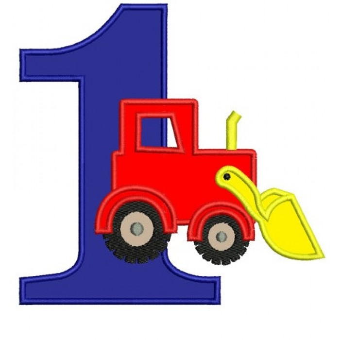 First (1st) Birthday Bulldozer Construction Truck Machine Embroidery Applique Design Pattern- Instant Download - 4x4 , 5x7, and 6x10 hoops