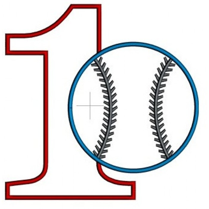 First Birthday Number 1 Baseball Design Machine Embroidery Digitized Applique Pattern
