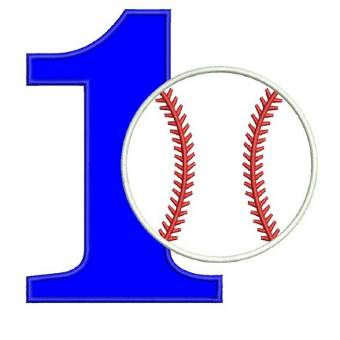 First Birthday Number 1 Baseball Design Machine Embroidery Digitized Applique Pattern Instant Download 4x4 5x7 And 6x10 Hoops 700x700