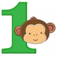 First Birthday Number 1 Monkey Design Machine Embroidery Digitized Applique Pattern - Instant Download - 4x4 , 5x7, and 6x10 -hoops