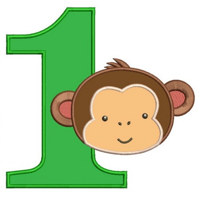 first birthday number 1 monkey design machine embroidery digitized