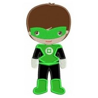 Instant Download Cute Boy Green Lantern's Little Brother (hands out) Super Hero Machine Embroidery Applique