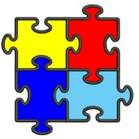 Autism Awareness Applique Machine Embroidery Digitized Design Pattern - Instant Download - 4x4 , 5x7, and 6x10 -hoops