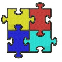 Autism Awareness Machine Embroidery Digitized Design Filled In Pattern - Instant Download - 4x4 , 5x7, and 6x10 -hoops