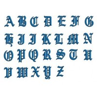 Embroidery Monogram Font Script - Instant Download - Old English Upper Case (A-Z) - 260 Files