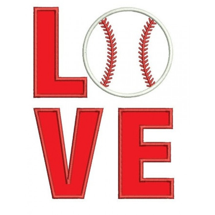 Love Baseball Sport Applique - Instant Download Machine Embroidery Digitized Design - comes in three sizes to fit 4x4 , 5x7, and 6x10 hoops
