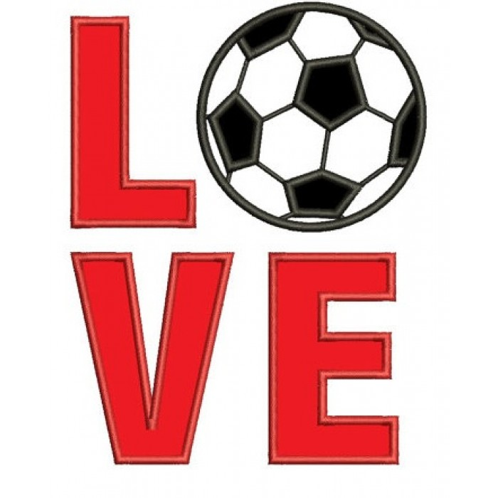 Love Soccer Sport Applique - Instant Download Machine Embroidery Digitized Design - comes in three sizes to fit 4x4 , 5x7, and 6x10 hoops